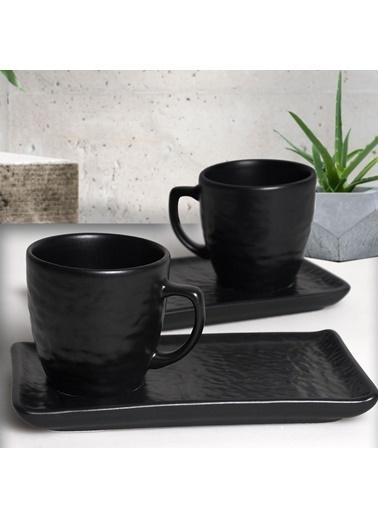 Keramika Keramika Mat Siyah Doğaltaş Kahve Sunum Seti 2 Kişilik Renkli